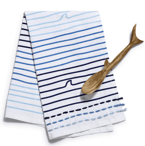 Amity Great White Dish Towel w/Hand Carved Shark Spoon Entertaining