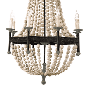 Hampton Bay Scalloped Wood Bead Chandelier Chandelier