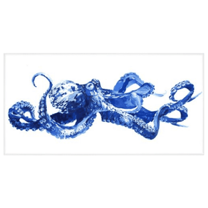Oversized Indigo Octopus Framed Giclee Art