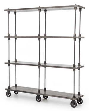 "Marina 63"" Iron & Wood BookShelf Shelf"