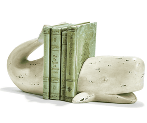 Weston Whale Tail Book Ends - Two Colors -Ivory or Aqua Accessory Ivory