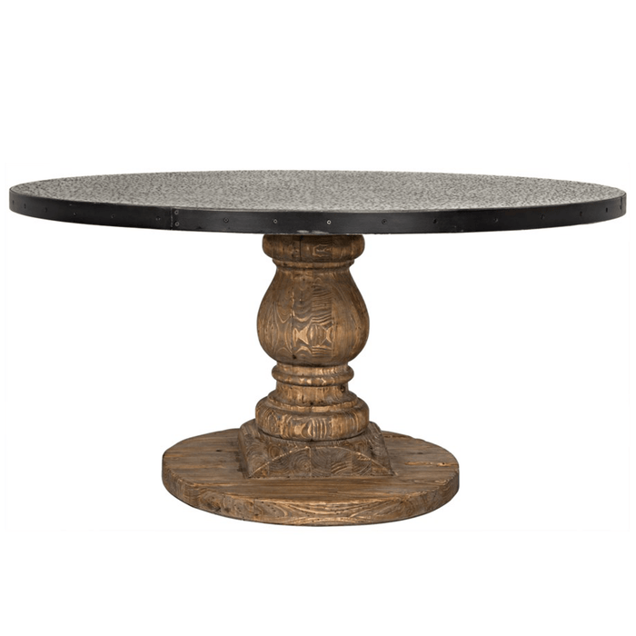 "Kalmar 60"" Old Wood Hammered Zinc Top Table"