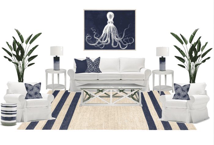 Living Room Furniture Package - Navy