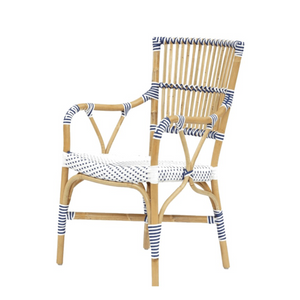 Madrid Dining Arm Chair White & Navy Blue