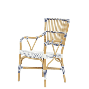 Madrid Dining Arm Chair White & Navy Blue Dining Chair