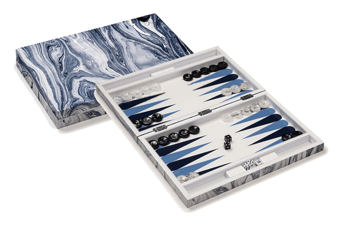 Blue & White Marble Lacquer Backgammon
