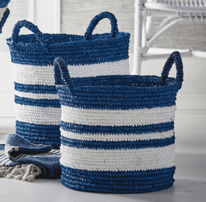 Marina Stripe Totes - Set of Two Basket