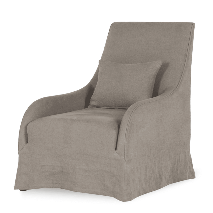 Nags Head Gray Belgium Linen Arm Chair