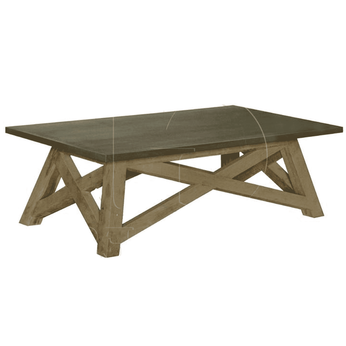 Natural Elm and Zinc Top Coffee Table
