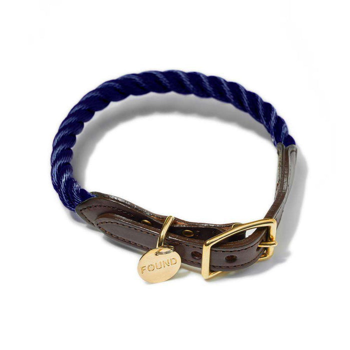 Navy Rope & Leather Dog Collar