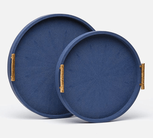 Oceania Round Shagreen Trays s/2 - Variety of Colors Decor S/2 Navy