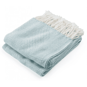 Cotton Newfield Herringbone Twist Throw - Aqua Throw