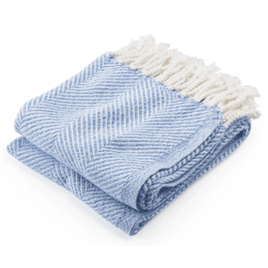 Cotton Newfield Herringbone Twist Throw - Hydra Blue Throw