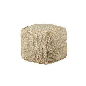 Natural Woven Puff Pouf