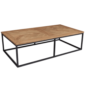 "Recycled Parquet Rectangular 65"" Cocktail Table Coffee Table"