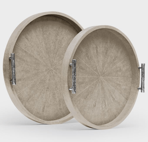 Oceania Round Shagreen Trays s/2 - Variety of Colors Decor S/2 Sand