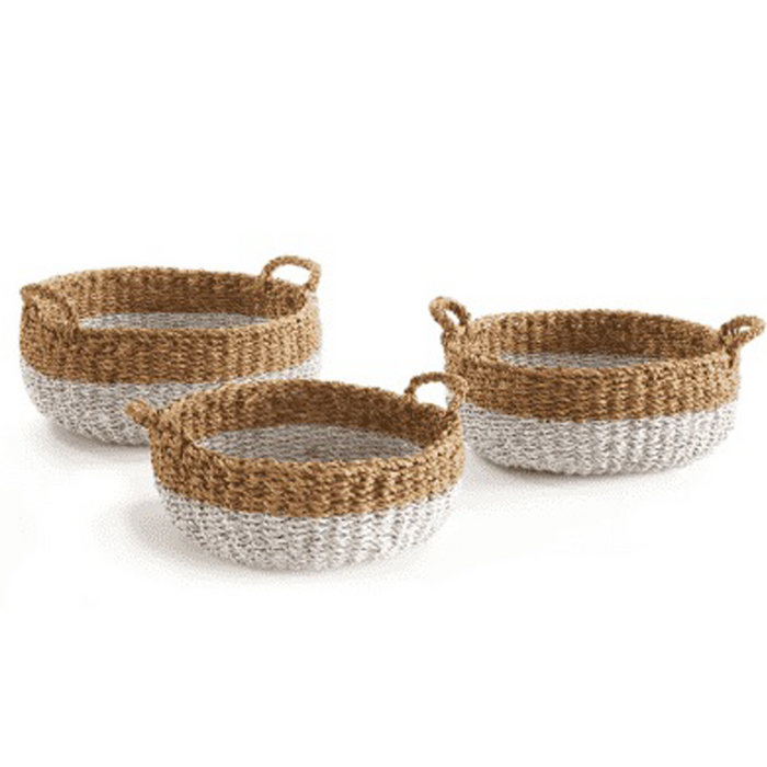 Seagrass Shallow Baskets w/ Handles (Set of 3)