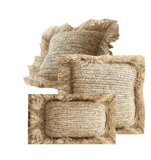 Seagrass Pillow with Raffia Fringe Detail - Various Sizes Pillow