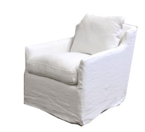 Skipper Belgium White Linen Swivel Slipcovered Chair Swivel/Glider