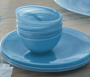 Artisanal Glass Dinner Plate in Aqua or White - Set of Four Entertaining
