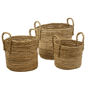 Sumatra Braided Seagrass Baskets - Set of Three