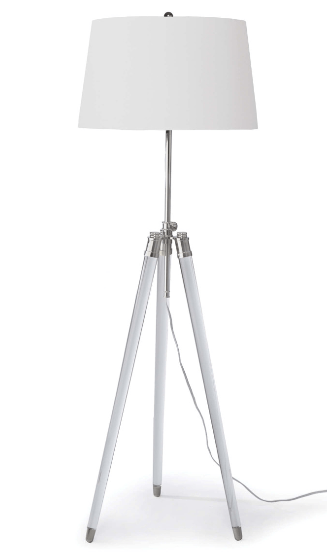 Surveyors Floor Lamp With Lucite Legs And Nickel Accents
