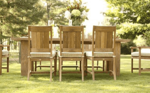 "Cape Cod Natural Teak 20"" Outdoor Dining Side Chair w/Cushion Outdoor Furniture"