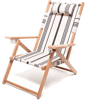 Wooden Beach Chair - Vintage Black Stripe Beach