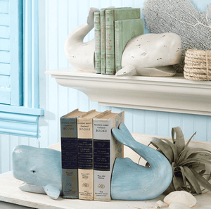Weston Whale Tail Book Ends - Two Colors -Ivory or Aqua Accessory