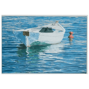 White Row Boat with Red Buoy Giclee Art