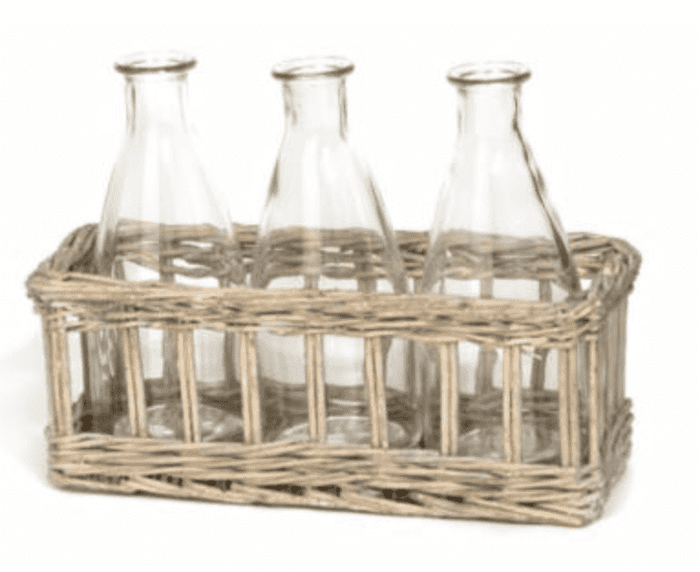 Rectangular Willow Tray w/Three Glass Bottles