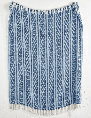 Yarmouth Cotton Navy & Ivory Throws - Three Patterns Throw Braided Rope