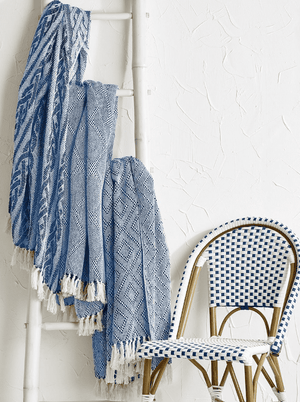 Yarmouth Cotton Navy & Ivory Throws - Three Patterns Throw