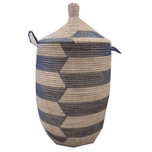 Zambia Herringbone Hamper in Natural, White & Blue