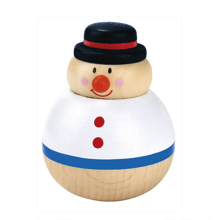 Kerst Roly Poly Hout Sneeuwpop