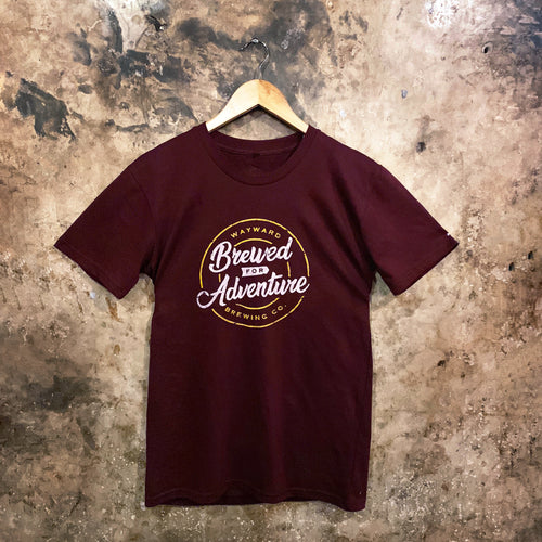 BREWED FOR ADVENTURE (SCRIPT) MAROON T-SHIRT