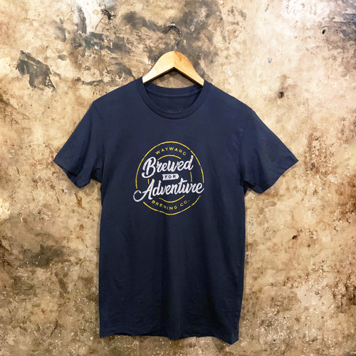 BREWED FOR ADVENTURE (SCRIPT) BLUE T-SHIRT