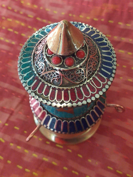 Table Prayer Wheel Filigree 1-Himalayan Trading Post Ltd