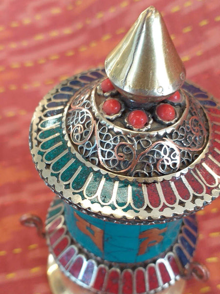 Table Prayer Wheel Filigree 2-Himalayan Trading Post Ltd