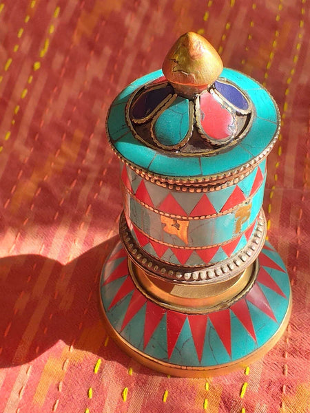 Table Prayer Wheel Red Triangle-Himalayan Trading Post Ltd