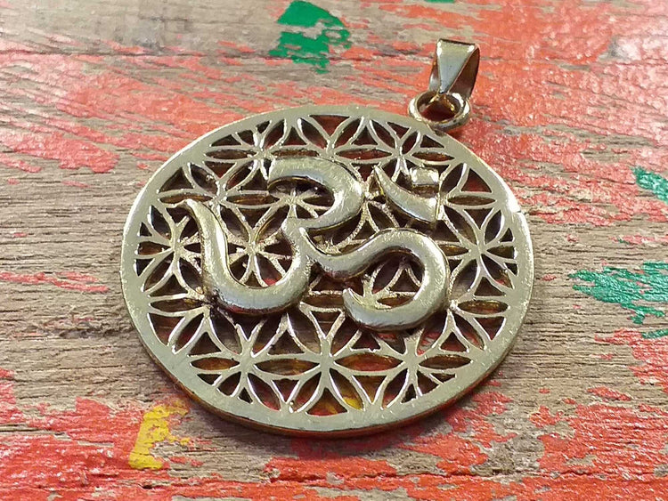 Om Flower of Life Pendant-Himalayan Trading Post Ltd