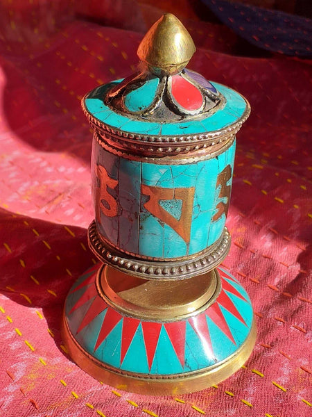 Table Prayer Wheel Inlay Mantra