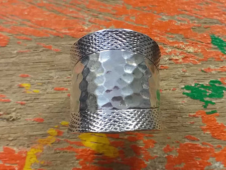 Sterling Beaten Pattern Ring-Himalayan Trading Post Ltd