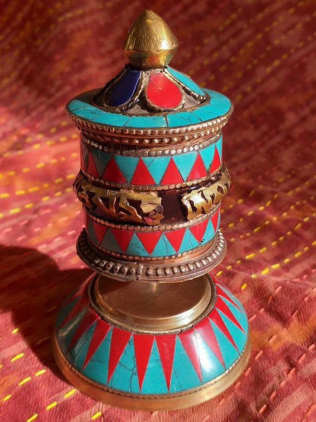 Table Prayer Wheel Embossed-Himalayan Trading Post Ltd