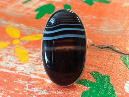 Sterling Banded Onyx Ring