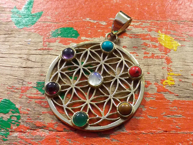 7 Chakra Flower of Life Pendant-Himalayan Trading Post Ltd