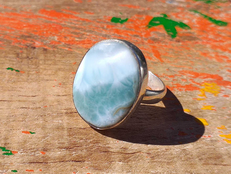 Sterling Larimar Ring 20x15mm Size 6