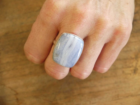 Blue Lace Agate Sterling Ring-Himalayan Trading Post Ltd