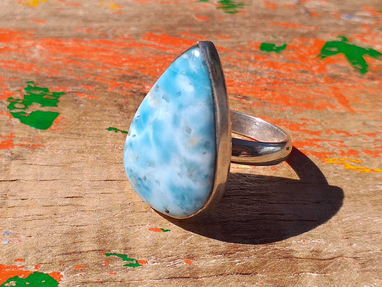 Sterling Larimar Ring 24x16mm Pear Size 7