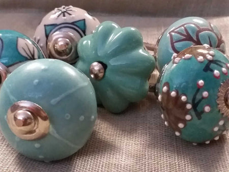 Ceramic Knob Turquoise-Himalayan Trading Post Ltd